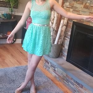 Teal mini dress